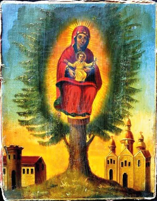 Jedľová ikona Bohorodičky