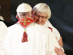 Pope Francis (left) hugs Lutheran Archbishop Ante Jackelen, primate of the Church of Sweden on Monday.