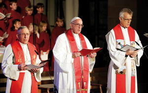 Pope Francis (C), General Secretary of the Lutheran World Federation Rev. Martin Junge (R) and President of the Lutheran World Federation Bishop Munib Younan attend an ecumenical mass in the cathedral in Lund, Sweden, October 31, 2016. Osservatore Romano/Handout via REUTERS ATTENTION EDITORS - THIS PICTURE WAS PROVIDED BY A THIRD PARTY. EDITORIAL USE ONLY. NO RESALES. NO ARCHIVE.